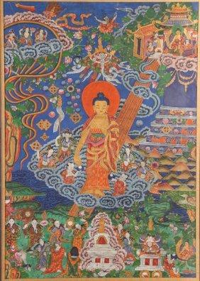 Chinese-tibetan Thangka With Buddha
