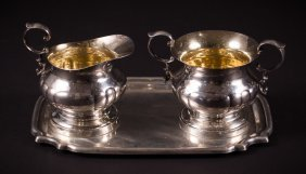 Sterling Silver Creamer, Sugar, And Tray
