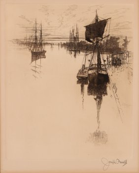 Joseph Pennell Dockside Ships And Harbor Etching