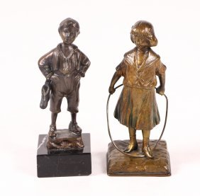 Two Small Bronze Figural Sculptures