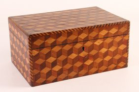 Fine Marquetry Tumbling Blocks Pattern Box