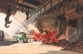 H. C. Mcbarron Jr. Watercolor Painting Of Steel Making