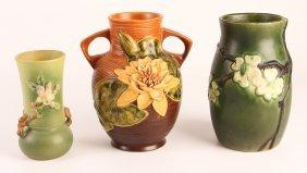 Three Various Floral Pattern Roseville Ceramics