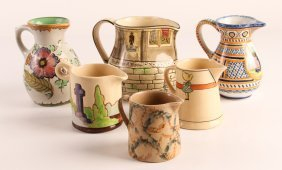 Six Assorted Glazed Ceramic Creamers