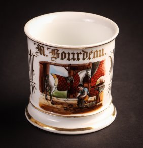 Occupational Shaving Mug, French Blacksmith Shoeing