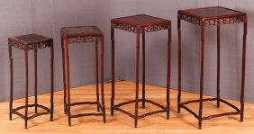 19th C. Chinese Carved Wood Nesting Tables (4)