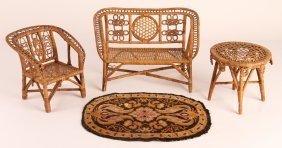 Set Of Child's Miniature Wicker Furniture With Carpet