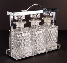 Tantalus Bar With Fostoria Etched Bottles