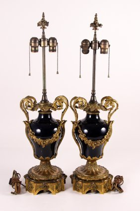 Pair Sevres Style Ormolu Mounted Table Lamps