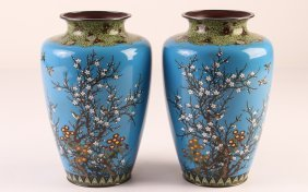 Pair Of Ando Style Cloisonne Vases