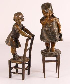 2 After Juan Clara Sculptures Of Children