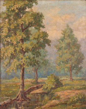 Pair Of 1920s Landscape Oil Paintings By Weiterhausen