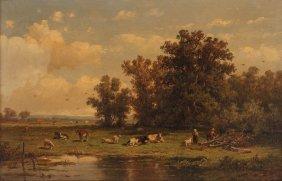 "Anthonie Jacobus Wijngaerdt Ptg. ""cows Grazing In A"