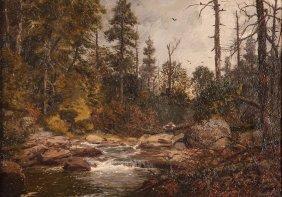 Jasper Lawman Oil Scene Painting Of Wooded Stream
