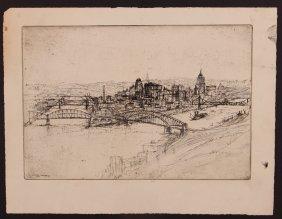 "Joseph Stastny Etching 1930 ""panorama Of Pittsburgh"""