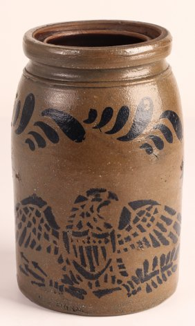Stoneware Crock With Stenciled Eagle Decoration