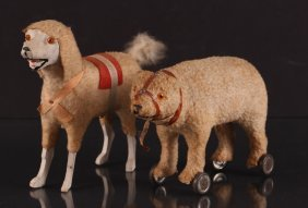 Pair Of German Felted Cotton Pull Toy Animals