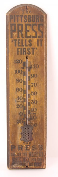 Antique Pittsburgh Press Promotional Thermometer