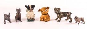 Six Dog Formed Antique Cast Metal Weights & Doorstop