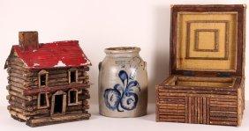 Three Pieces Of Rustic American Folk Art Décor