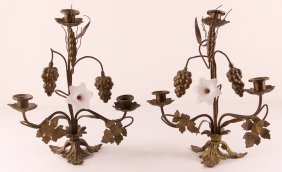 Pair Of Brass Candlesticks With Glass Flowers, Brass