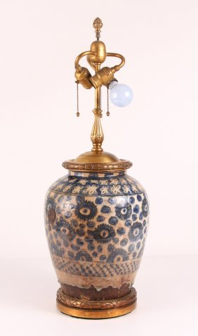 Antique Middle Eastern Porcelain Vase Formed Lamp