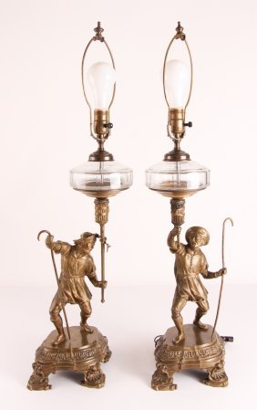 Pair Bronze Shepherd Hoisting Converted Oil Lamps