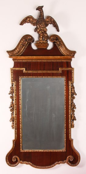 Federal Style Tall Mirror W Carved Eagle And Scrolled