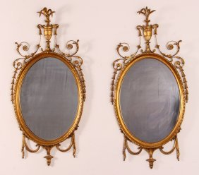 Pair Of Gilt Adams Style Wire Hall Mirrors