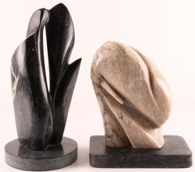 Pair Of Breeden Carved Soapstone Organic Abstractions