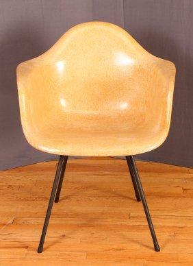 Yellow Fiberglass Eames Arm Chair
