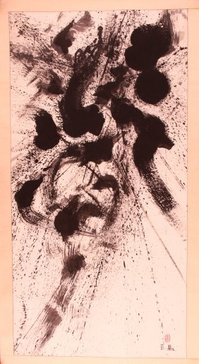 Modern Abstract Expressionist Ink Painting On Scroll