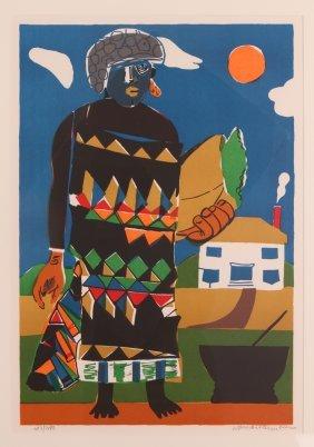 "Romare Bearden 1979 Color Lithograph ""pilate"""
