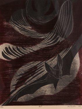 Sue Fuller Bat 1946 Woodblock Print
