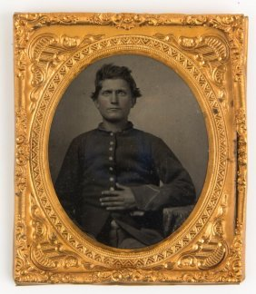 Civil War 1/6 Plate Colored Tintype Union Soldier