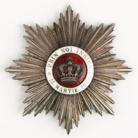Romania Order Of The Crown Breast Star Badge