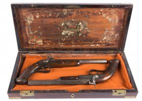 Cased Pair Of Percussion Pistols J. Tipping London