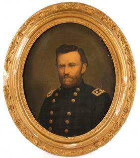 Civil War Framed Us Grant Portrait E C Middleton