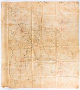 Unrecorded Civil War Jefferson Davis Capture Map