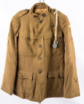 Wwi Us 2nd Army Air Sercvice Jacket & Tags Named