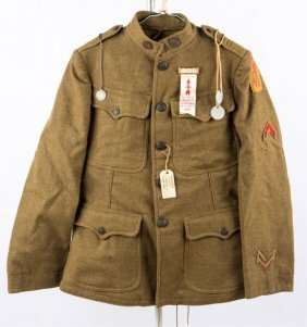 Wwi Us Army 32nd Division Uniform & Tags Named