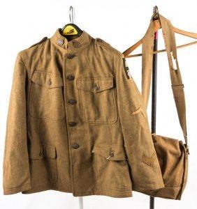 Wwi Us 1st Army Motor Transport Jacket & Gas Mask