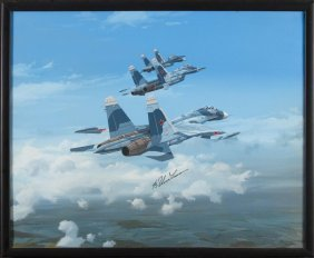 Waddy Painting Su-27 Fighters Signed By Ilyushin