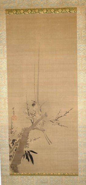 Malerei Japan. Tusche Auf Seide. Vogel Auf