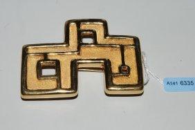 Goldbrosche Burle Marx. 750 Gelbgold. Ziselierte Und