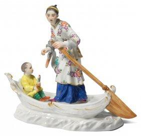 Figurengruppe, Meissen Nach 1980. Chinesin Mit Kind In