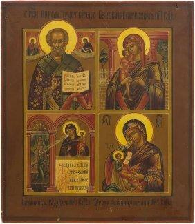 Vierfelder-ikone Russisch, 19.jh. Tempera Ber