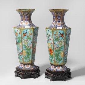 1 Paar Vasen China, 20.jh. Email Cloisonné.