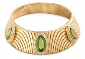 Peridot-brillant-collier 750 Gelbgold- Breite