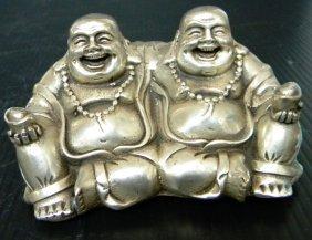 Chinese White Bronze Double Buddha Statue
